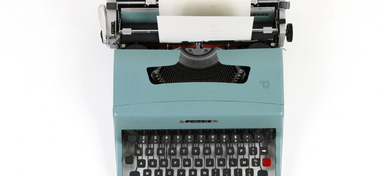Olivetti teal midcentury modern typewriter
